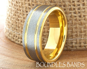 Yellow Gold Wedding Band Ring 8mm 18K Two Tone Man Wedding Band Male Women Custom Laser Engraving Anniversary Handmade Double Grooved New