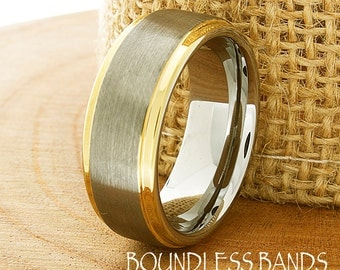 Tungsten Wedding Band Mens Women Stepped Gold Edges Wedding Ring Set Anniversary Couple Rings Unisex Two Tone Laser Engraved New Design Ring