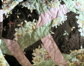 Price Reduced!! Hand Crafted Hydrangea Quilt - Batik Lavender Mint Pink Black King Size All Cotton