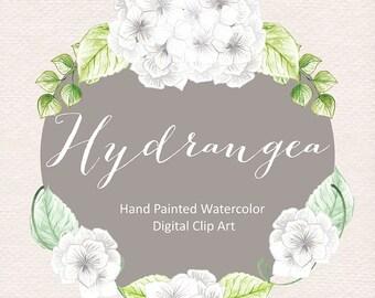 Watercolor Hydrangea flowers clipart, watercolor flower, White Floral Clipart,  Wedding Clip Art, wedding invitation