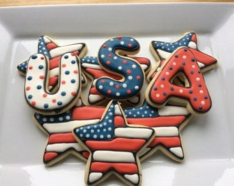 PATRIOTIC USA Sugar Cookies - 2 sets USA, 6 star flags - One Dozen total cookies  Memorial Day, Fourth of July, Patriotic