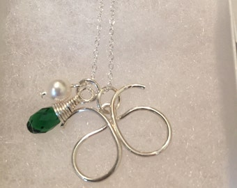 Arbonne Silver or Gold Necklace with Swarovski Crystal and Freshwater Pearl