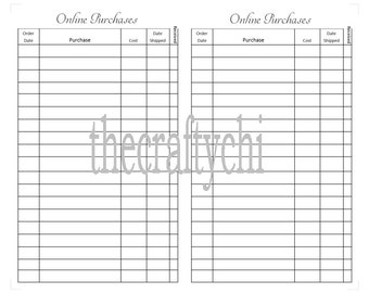 Online Purchases Tracker for TN, Traveler's Notebook, Midori-, FieldNote  digital download Printable
