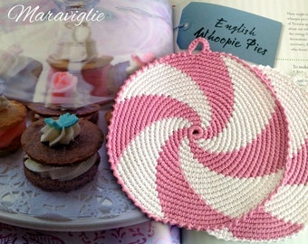 Crochet Potholders, Crocheted Potholders, Pink Potholders, Kitchen decor