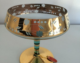 Mid Century Green Bohemian Glass Pedestal Compote with Gold Gilt from Hungary