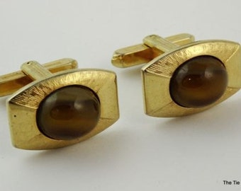 Vintage Cufflinks hickok USA Gold Tone Tiger's Eye Brown Stone Cuff Links 1960s