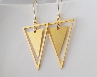 Triangles earrings, Gold triangles earrings, Dangle triangle earrings, Geometric gold earrings, Dangle triangles gold earrings, Boho chic