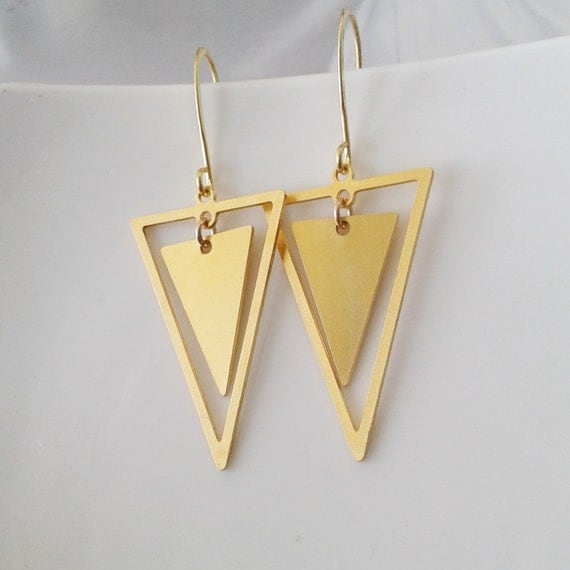 triangles earrings gold triangles earrings dangle triangle. Black Bedroom Furniture Sets. Home Design Ideas