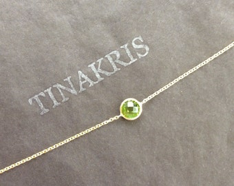 14k solid gold and peridot everyday bracelet