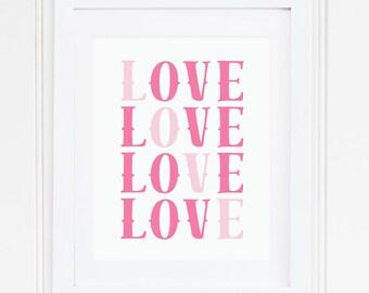 PINK, Nursery Wall Art, Nursery Art, Nursery Decor, Nursery Quote, LOVE, Modern, Printable, Instant Download, Playroom