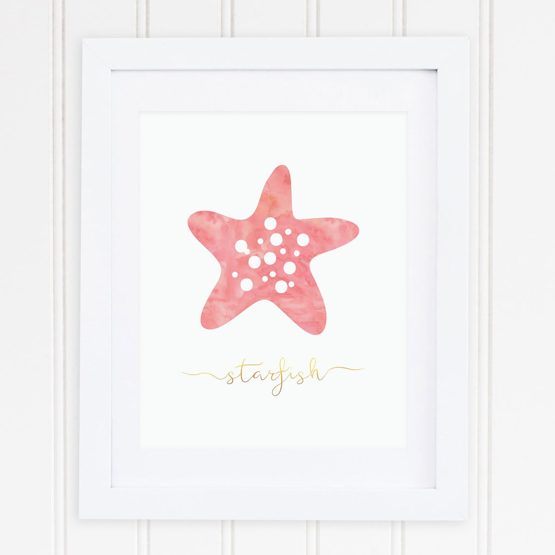 Gold Starfish Wall Decor : Coral gold beach nursery wall art starfish ocean