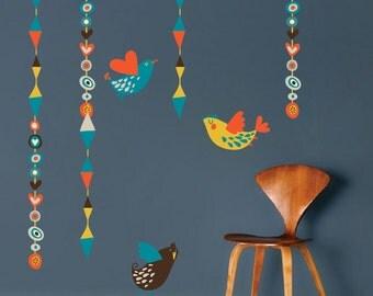 Birds Wall Art Design, Hanging Birds Wall Mural Decal, Birds Wall Art Stickers, Birds Wall Mural Design, Birds Hanging Wall Decal, d51