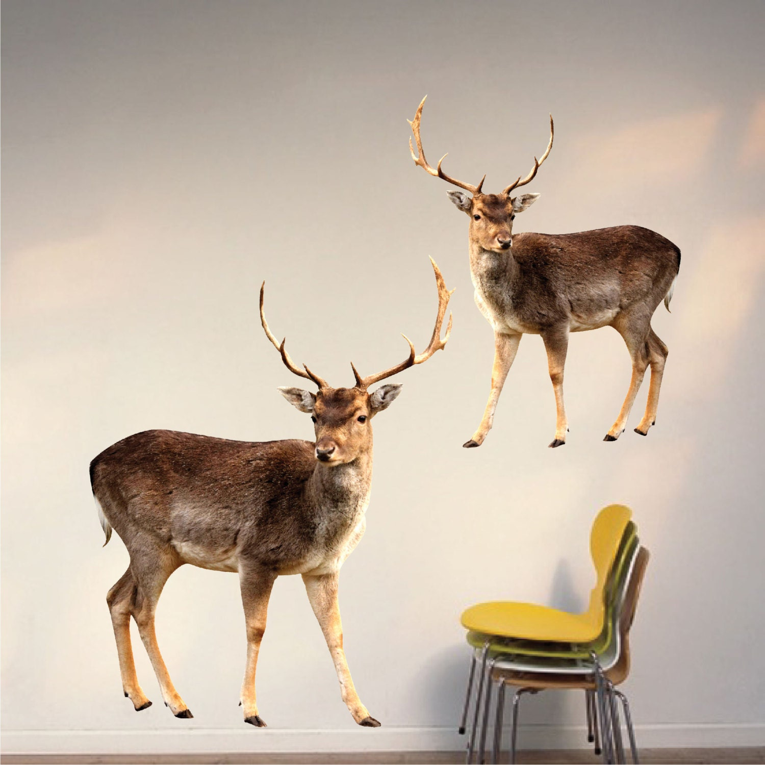 Deer wall decals interior buck sticker murals wall designs for Deer wall mural