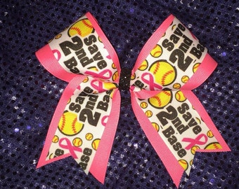 Save Second Base Breast Cancer Bow