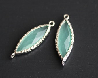 A2-103-R-MT] Mint / 10 x 25mm / Rhodium plated / Marquise Glass Pendant / 1 piece