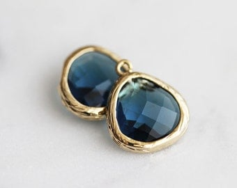 A2-004-G-MO] Montana / 13mm / Gold plated / Glass Pendant / 2 pieces