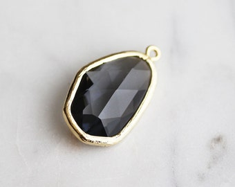 A2-062-G-CC] Charcoal / 11 x 27mm / Gold plated / Glass Pendant / 1 piece(s)