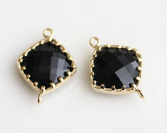 A2-063-G-ON] Onyx Black / 14 x 18mm / Rhombus / Gold plated / Pendant Connector /  2 piece(s)