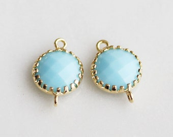 A2-112-G-MB] Milk Blue / 8mm / Gold plated / Round Pendant Connector /  2 pieces