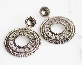 N3-234-M] Round Dangle / 28mm / Gunmetal Plated / Post Earring / 2 piece(s)