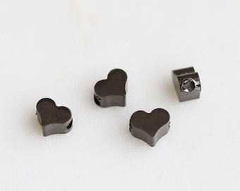 T6-079-M] Heart / 5 x 4mm / Gunmetal plated / Metal Beads / 4 piece(s)