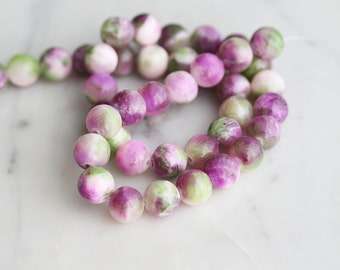 50% Off ENTIRE STORE // A2-620-A21-10] Purple and Green Agate / 10mm / Round Ball Bead  / 1/2 strand
