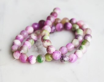 50% Off ENTIRE STORE // A2-620-A21-8] Purple and Green Agate / 8mm / Round Ball Bead  / 1/2 strand
