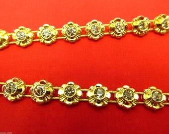 Stunning Crystal Beaded Rhinestone Diamante Ribbon Trim Bridal Wedding Chain- Gold 1402