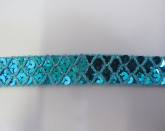 Turquoise Sequin Metallic Trim Craft Braid  25 mm Wide