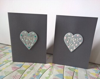 Thank You Greetings card with handmade clay heart with a choice of green or pink polka dots. Blank inside for own message
