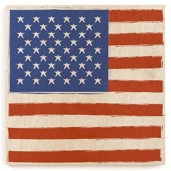 American Flag Wood Print Wooden Wall Decor American Flag