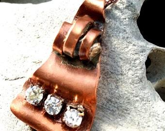 Copper and Rhinstone Pendant includes chain