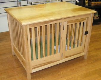 Side Entry Wood Dog Crate Furniture by HuntRidgeRanch