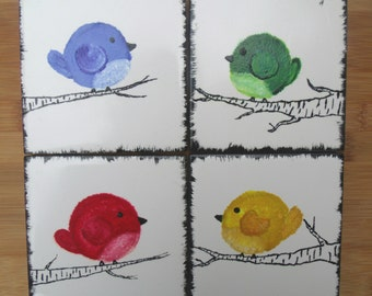 Four Hand-painted Bird Coasters - Set of 4x4 Ceramic Tiles - Red, Blue, Green, Yellow - Decorative Art -  Gift