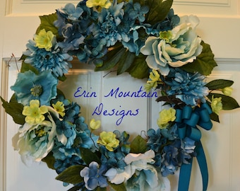 Front Door Wreath, Turquoise,Teal, Blue, and Lime Green Wreath, Grapevine Wreath