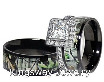 mens womens black titanium camo sterling silver halo engagement wedding rings - Camo Wedding Ring Set