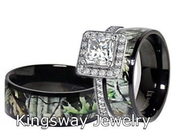 mens womens black titanium camo sterling silver halo engagement wedding rings - Camo Wedding Ring Sets