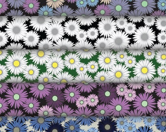 Daisy flower pattern digital backing papers, in various colours.