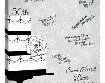 Anniversary Guest Book ~Custom Canvas Wedding or Anniversary Guest Book ~Personalized Guest Book~Golden Anniversary~Wedding Cake~