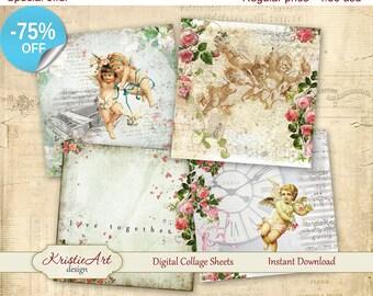 75% OFF SALE Digital Image Vintage Angels - Digital collage sheet - Printable Download - Digital Tags - Digital Vintage - ATC Card - Vintage