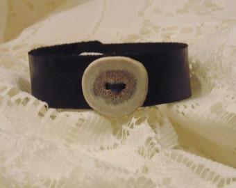 Black leather deer antler bracelet