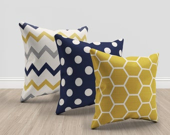 navy blue and  mustard yellow and cream throw pillows, set of 3 pillows, geometric and chevron pillows, mustard throw pillow, navy blue