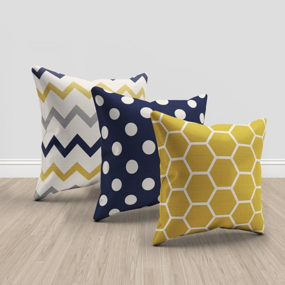 navy blue and mustard yellow and cream throw pillows set of. Black Bedroom Furniture Sets. Home Design Ideas