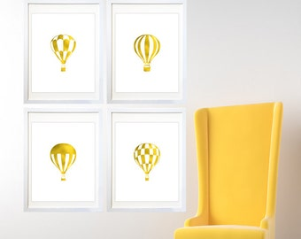 Hot Air Balloons art, Wall Prints - Hot Air Balloon nursery, Hot Air Balloon Wall Art, Faux Gold Foil, Print Set, Affordable Art