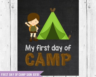 First day of Camp // Girl Camper // Child camping sign // Camp Sign Printable // Camp Photo Prop // My first day of Camp // 8x10