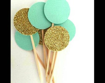 First birthday - mint and gold circle confetti cupcake toppers, first birthday, 1st birthday, wedding, baby shower, bridal shower