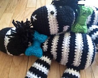 Zebra stuffed toy, Crocheted zebra toy, crochet zebra, Plush zebra, Zebra with Bow