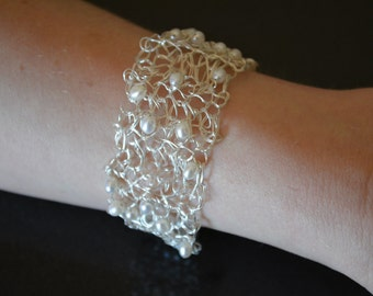 White Freshwater Baroque Pearls with Sterling Silver Crochet Wire Bracelet