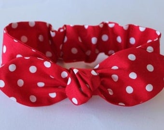 Rosie The Riveter, adult headband,womens headband, headbands for women, cotton, red and white, polka dot, knot headband, rockabilly, retro