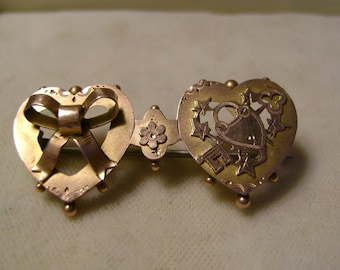 Fine  Antique Victorian Hearts,Bow & Padlock  Sweetheart brooch - S. Bros-1900's-Any item can be Reserved